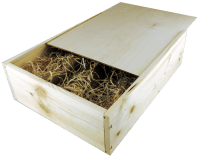 3 bottles wine wooden box with sliding lid and wood wool filling
