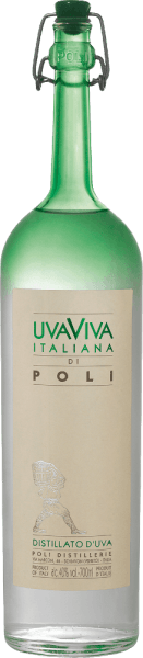 Jacopo Poli's  Uva Viva Italiana di Poli is a fresh, vibrant grape brandy distilled from the Malvasia (60%) and Moscato (40%) grape varieties.  In the glass, this brand is presented in a clear, transparent color. The fine-fruity bouquet is characterized by intense notes of ripe apricots, juicy pears and floral notes of orange blossoms. On the palate, this Italian grape brandy convinces with a fresh texture and vibrant body.  Distillation of the Uva Viva Italiana di Poli  The Malvasia and Moscato grapes are first fermented in stainless steel tanks at a controlled temperature. Afterwards, this wine is traditionally distilled together with the grapes in old copper burners. After the distillation process, this grape brandy still has 75% by volume. By adding distilled water, the Uva Viva Italiana di Poli reaches an alcohol content of 40% by volume. After that, this grape brandy rests for at least 6 months in stainless steel tanks to finally be gently filtered and filled onto the bottle. Serving recommendation for  the Uva Viva Italiana di Poli Jacopo Poli Enjoy this Italian brandy at a temperature of 10 to 15 degrees Celsius as a digestive after a delicious menu or with desserts such as apricot pie.