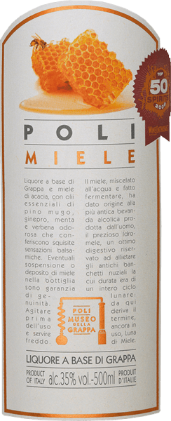 The Poli Miele Museo della Grappa by Jacopo Poli is a soft, finely sweet grappa distilled from the marc of various grape varieties from Veneto and flavoured with acacia blossom honey and herbal oil essences.  In the glass, this grappa has a very bright straw yellow with glittering reflections. The fine bouquet reveals aromatic notes of pine, orange and acacia blossoms and subtle hints of juniper. On the palate, this flavoured marc brandy is wonderfully soft with a fine sweetness that is perfectly accompanied by balsamic aromas.  Distillation of Jacopo Poli Miele Museo della Grappa The still fresh marc of the various grape varieties from the Venetian appellation Vicenza is traditionally distilled in old copper burners. After the firing process, this grappa still has 75% by volume. By adding distilled water, this pomace brandy reaches an alcohol content of 35% by volume. After the addition of  the acacia blossom honey and the fine herbs, this grappa  rests for a total of 3 months in stainless steel tanks, before finally being gently filtered into the bottle. Serving recommendation for  the Poli Miele Museo della Grappa Jacopo Poli This Italian marc brandy goes perfectly with desserts made of shortcrust dough or can be served as a nice end to a delicious menu. Enjoy this grappa at a temperature of 10 to 15 degrees Celsius.