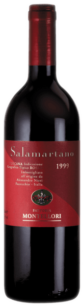 This cuveé made of Cabernet Sauvignon, Merlot and Cabernet Franc shows up with a dark Bordeaux red in the glass. The Salamartano IGT from Fattoria Montellori exudes scents similar to those of liquorice, chocolate and cassis. Tastefully, the salamartano is of great structure and full, making it a great match for beef fillet, wild boar and guinea fowl.