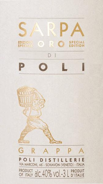 Jacopo Poli's Sarpa Oro di Poli is a mild, soft grappa distilled from the marc of Merlot (60%) and Cabernet Sauvignon (40%). In the glass, this marc brandy shines in a warm gold with shiny reflections. The aromatic bouquet reveals fine aromas of tropical fruits, lemons and spicy notes of vanilla and liquorice. On the palate, this grappa is wonderfully velvety with a mild body. The soft fullness is perfectly enveloped by warm spice aromas. Distillation of Jacopo Poli Grappa Sarpa Oro di Poli Big Mama The still fresh pomace is traditionally distilled in old copper burners. After the firing process, this grappa still has 75% by volume. By adding distilled water, this pomace brandy reaches an alcohol content of 40% by volume. Afterwards, this grappa rests for a total of 4 years in French allier oak barriques, before finally being gently filtered and filled onto the bottle. Serving recommendation for the Big Mama Sarpa Oro di Poli Jacopo Poli Grappa Enjoy this Italian marc brandy best at a temperature of 18 to 20 degrees Celsius - like as a digestif or simply pure on a cozy evening.