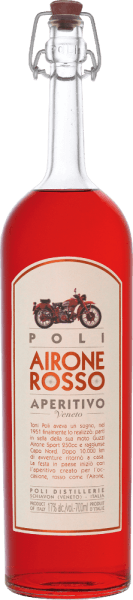 The by Airone Rosso by Jacopo Poli is an aromatic Italian aperitif prepared according to an old recipe of the Poli family. In the glass, this liqueur shines in a rich ruby red with brick-coloured highlights. The intense bouquet has distinctive, spicy aromas of herbs, chamomile and clove. On the palate, this herbal liqueur is very pleasant with a wonderful aroma accompanied by a fine bitter note. ProductionofPoli Airone Rosso This aperitif is made from an aromatic infusion of a grappa withmacerated herbs and spices and vermouth. Wormwood, millet, thyme, marjoram, sage, chamomile, cloves, coriander, gentian, angelica, kalmus, quinarind and orange peel, among others, are used. Ingredients: Vermouth, Sugar, Grappa, Natural Flavours, Colour E-129, Alcohol Serving recommendation for the Airone Rosso Jacopo Poli Aperitivo Enjoy this Italian herbal liqueur pure or as an ingredient for a party drink. Or pass this aperitif with ice cream desserts.