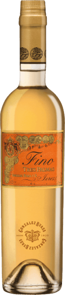 The Palomino Fino grapes for the grape-varietal, full-bodied and smooth Tres Palmas of Gonzalez Byass grow in the Spanish wine-growing region DO Jerez.  In the glass, this wine has a dark gold with greenish-golden highlights. Very intense and with a powerful bouquet, this sherry takes its nose - classically spicy aromas reveal themselves after many nuts, fresh bread crusts and hints of dried herbs. Even on the palate, this sherry convinces with strength and a dry, dense and harmonious body. Through the yeast of the cask maturity, the Byass Tres Palmas gains in a present fullness and suppleness. The pleasantly long reverberation is accompanied by nutty nuances.  Vinification  of Gonzalez Byass Tres Palmas Fino In September, the Palomino Fino grapes are carefully harvested, immediately brought to the wine cellar of Gonzalez Byass and gently pressed there. At low temperatures, this sherry is fermented and then sprayed onto 15.5% by volume and placed in Tio-Pepe-Solera. For 10 years, this sherry matures in American oak wooden barrels and is unfiltered after this maturation period and filled unpleasantly by hand onto the bottle.  Food recommendation for the Tres Palmas Byass Fino In a small wine glass, this sherry can best reveal its variety of flavours. Enjoy this wine solo or serve it with strong game dishes or fried tuna.  Awards for Fino Tres Palmas Gonzalez Byass Robert M. Parker - Wine Advocate: 93 points Wine Spectator: 92 points (awarded December 2017)