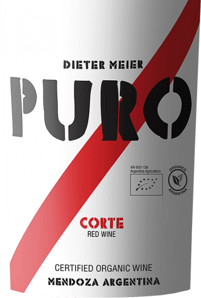 The Puro Corte by Dieter Meier appears in deep dark, dense red with violet reflections. This expressive red wine cuvée is vinified from Malbec (50%), Cabernet Sauvignon (35%) and Cabernet Franc (15%). On the nose, this Argentine wine smells wonderfully complex and intense after the grape varietal fruit notes of juicy plums (Malbec) and black berries (Cabernet Sauvignon), which are underlaid by delicate vanilla notes and a fine oak wort. On the palate, the Puro Corte presents itself with a very powerful, full-bodied and juicy personality, which is further characterized by the wonderful harmony between fresh fruit, wood, spice and gently ripened tannin. This red wine is incredibly fleshy and very well balanced with a clearly varietal fruit and a wonderful finish of spices and plums. Vinification of Puro Corte Dieter Meier In the Argentine wine region of Luján de Cuyo on high altitude vineyards, the vines for this red wine grow. The high altitude offers the advantage that the natural maturation process is delayed by the cool nights and the grapes for this red wine can reach their full maturity. There is an excellent harmony between alcohol, tannins, aromas and fresh acidity. These vineyards by Dieter Meier are cultivated exclusively under organic cultivation methods The grape harvest will take place in mid-April. After selecting the grapes, they are fermented at 27 to 29°C in a stainless steel tank. After alcoholic fermentation, this wine is aged in French oak barriques - of which about 50% are secondary. The wood finishing gives this wine even more fullness and structure. Food recommendation for Dieter Meier Puro Corte We recommend this dry red wine from Argentina with spicy and spicy pan dishes with beef, strong stews or with cheese and sausage specialities.