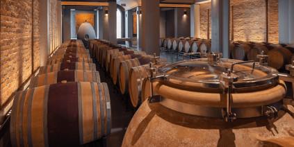 Der Weinkeller bietet genug Platz zum Reifen der Ernie Els Weine