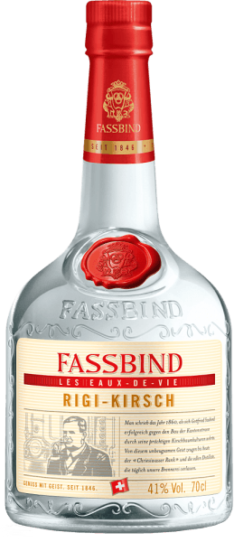 This oldest and most traditional noble brandy from Fassbind is clear in colour and is fired in a countercurrent process, stored as distillate for one year and finally cued.The Rigi cherry Les Eaux de Vie from Fassbind smells fruity and mild. A subtle almond note can be smelled. The subtle almond note can also be tasted on the harmonious palate. This fruit brandyis characterized by an elegant and full-bodied body and a long, fruity finish.