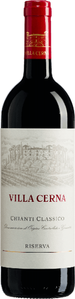The Villa Cerna Chianti Classico DOCG Riserva by Villa Cerna glows in the glass in an intense ruby red and flatters the nose with a bouquet that is characterized by floral aromas. Warm and round, this Riserva on the palate convinces with its depth and length. The tannins, acid and alcohol content are perfectly balanced. Vinification for Villa Cerna Chianti Classico DOCG Riserva This Chianti is vinified 95% from Sangiovese and 5% from Colorino. After harvesting, the grapes for this wine were traditionally fermented at controlled temperature for 15 days. The ageing of this Chianti Riserva took place for 14 months in barrique barrels, followed by further refinement in the bottle for 10 months. This red wine is produced only in the best vintages. Food recommendation for Villa Cerna Chianti Classico DOCG Riserva Enjoy this dry red wine with venison fillet, wild boar ragout or gorgonzola. Villa Cerna Chianti Classico DOCG Riserva Awards Gambero Rosso: 3 glasses for 2013