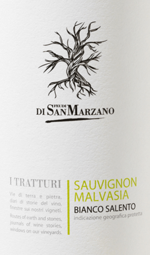 A clear, youthful white wine is I Tratturi Bianco from Cantine San Marzano. Crunchy acidity results in an invigorating fruit. A wine for hours full of joy. Straw yellow and clear with greenish highlights, this wine appears in the glass. Youthfully fresh, I Tratturi Bianco presents itself in the nose. The fragrantly fresh bouquet is reminiscent of apples and white flowers. The palate enjoys a fruity aroma of passion fruit, mandarin and, above all, peach. The spicy acidity gives this Italian white wine a beautiful structure. With a medium body, this cuvée appears dry yet fruity and closes with a pleasantly long reverberation. Vinification of the Cantine San Marzano I Tratturi Bianco The Tratturi Bianco Salento is a cuvée made from Sauvignon Blanc and Malvasia Bianca grape. The grapes are harvested quite early. After pressing, the must is fermented in the steel tank under strict temperature controls, after which this white wine remains there to mature. Food recommendation for the Bianco San Marzano I Tratturi At a temperature of 8-10°C, enjoy this dry white wine from Italy with light appetizers - such as grilled vegetables - with pasta, fish dishes, as well as goat's cheese and quarky desserts.