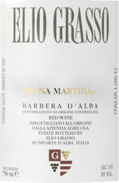 The Barbera d 'Alba Vigna Martina DOC by Elio Grasso is a cru from the vineyard of the same name. This classic red wine presents itself as an opulently fruity, very supple and powerful model Piemontese with an appealing bouquet of red fruits and the varietal, vinous scent. Dry in taste, with well-integrated, fresh acidity, velvety, full-bodied and elegant on the palate.  Soft, winy, long finish Vinification of the Barbera d 'Alba by Elio Grasso  The Barbera grapes are harvested exclusively by hand. After several days of mash fermentation with daily undermining of the grapes and malolactic fermentation, the wine is aged in French oak barriques, followed by at least another 8 months of bottle storage. Food recommendation for the Barbera d 'Alba Vigna Martina Enjoy this very beautiful, appealing Barbera d 'Alba with pasta with spicy sauces, regional Piedmontese cuisine, fine sausages and tasty meat dishes. Awards for Vigna Martina by Elio Grasso Wine Spectator: 90 points (2013) Bibenda: 4 grapes (2013)