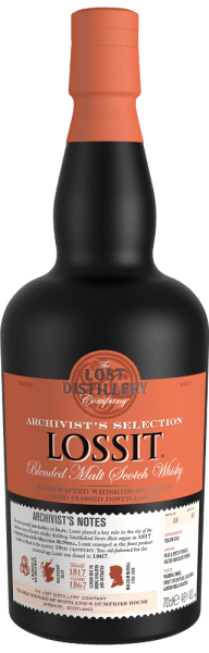 Archivist's Selection Lossit Blended Malt Scotch Whisky from The Lost Distillery Company shines golden yellow in the glass. On the nose, the archivist's Lossit surprises with aromas of peat, tobacco, soft nuances of smoke, hints of salty chocolate pudding, spicy vanilla and fresh toast with butter. On the palate, it is warm, balanced, with a nice interplay between smoky and gentle, spicy notes. In the finish, aromas of sweet, spiced pears, almond milk and marzipan appear, grilled tropical fruits that end in a very long, smoky and complex aftertaste. Production of Archivist's Lossit Blended Malt Scotch Whisky by The Lost Distillery Distillery Lossit was one of the most successful agricultural distilleries on the island of Islay and played a significant role in the rise of the island to an icon of Scottish whisky production. Founded in 1817 by Malcolm McNeill, farmer and distiller, Lossit Distillery soon stood out as one of the best producers on the island of Islay. With the rise of industrialization, distillation lost its importance until it was finally completely closed in 1867. The Lost Distillery Company, with the help of a team of whisky historians, revisits the production method and taste profiles of the former distilleries. By marrying single malts of different distilleries in the specific Scottish regions and using the given resources, they manage to reinterpret whiskies that have long since disappeared. Lossit Blended Malt Scotch Whisky Awards from The Lost Distillery Scotch Whisky Masters: Master Medal 2016 International Whisky Competition: Best New Release 2016