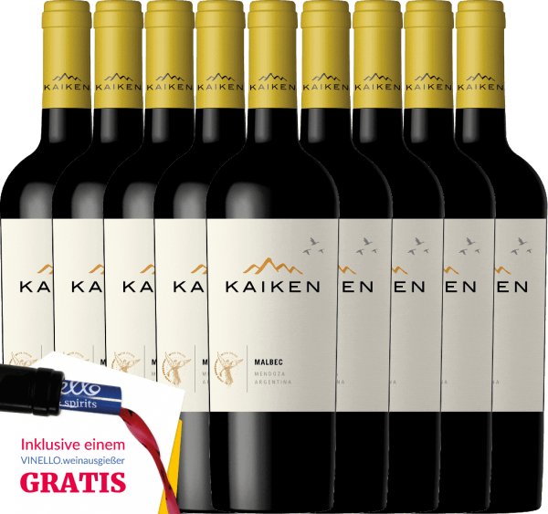 Kaiken Malbec is an aromatic red wine from Argentina, whose youthful elegance is based on an exceptional balance between fruit, velvety tannins and crisp fruit acid structure. You will now receive our Argentinian bestseller in a practical 9 pack. Find out more about this dry wine in the individual article ofKaiken Malbec.