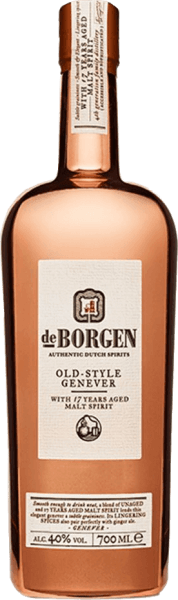 The Old Style Genever by De Borgen Distillery shimmers golden in the glass and unfolds a complex bouquet with roasted aromas, anise and spices. This Genever is soft on the palate and is present with the intense notes of cereals, juniper berries, spices and soft woody notes. On the finish, this Holland Gin is elegant and intense. The Old Style Genever from De Borgen is distilled three times in copper alambiques and completed with matured malt spirit. The look of the bottle is reminiscent of the copper alambiques. Serving recommendation for the Old Style Genever from De Borgen Distillery Enjoy this genever pure at a serving temperature of 20 ° Celsius or in a martini.